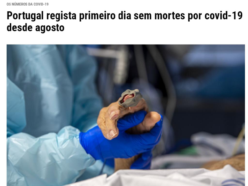Portugal regista primeiro dia sem mortes por covid-19 desde agosto