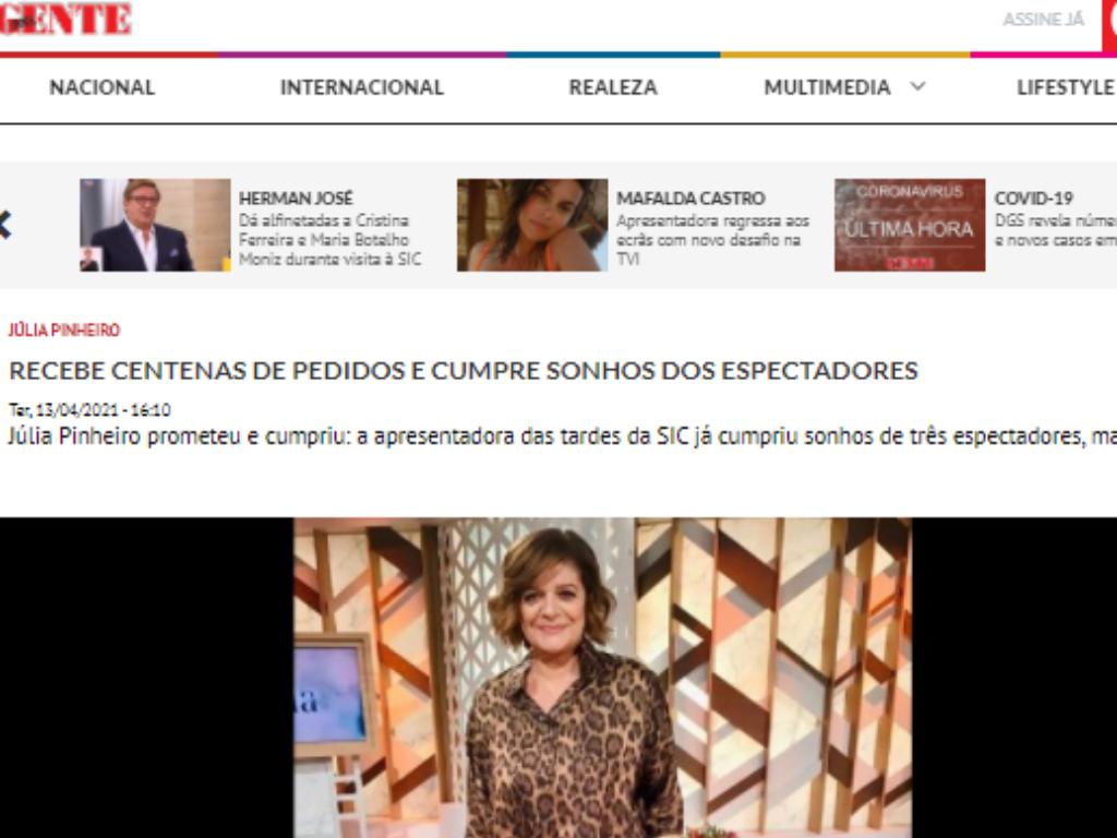 Sonho, Nova Gente, Júlia Pinheiro